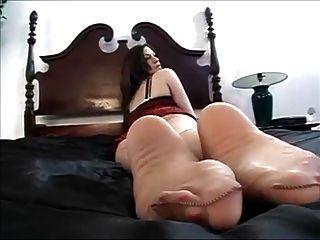 Nylon Feetplay On Bed