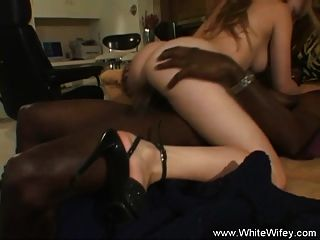 Redhead White Wifey Grooving On Black Cock