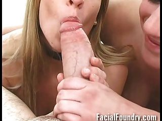 A Pair Of Cute Blondes Suck A Cock Well