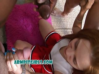 Teen Cheerleader Sweaty Group Sex Interracial Gangbang