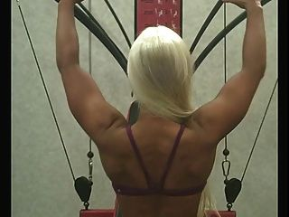 Sexy Blond Works Out At The Gym