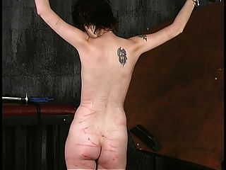 Shackled Short-haired A-cup Brunette Gets Her Tits Roped By Old Dude