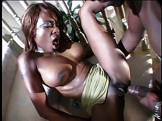 Busty Ebony Gets Her Juicy Ass Drilled On Stairs By Stud