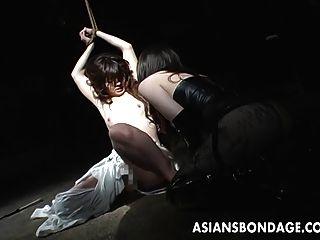 Tied Up Asian Babe Endures Some Rough Nip Sucking