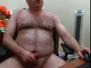 Webcam Hairy Bear Daddy Jerks His Load On His Desk