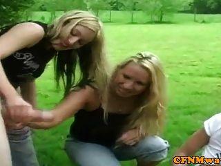 Femdom Cfnm Sluts Outdoor Wanking Dick