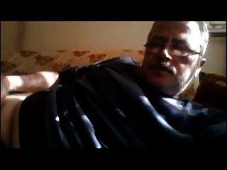 Chubby Grandpa Shows Cock