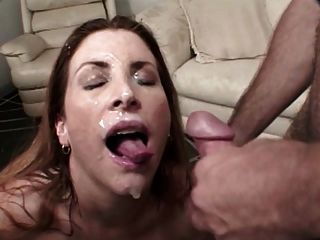 Sexy Milf Gets A Messy Blowbang Facial