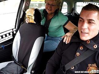 Czech taxi amateur titfucking on backseat 5