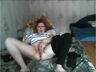 Mature Slut Masturbates & Cums Standing (almost Falls Over)
