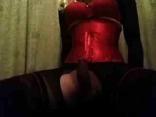 Cd In Corset Riding Dildo Cowgirl Until Cum