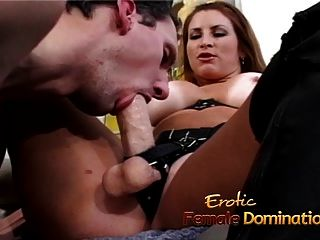 Busty Brunette Starlet Bangs A Horny Guy With A Strap-on