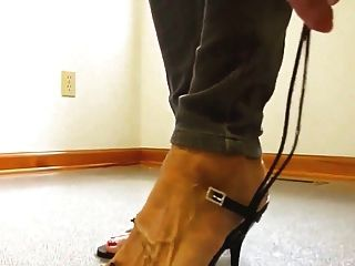 Mature Lady Bare Feet High Heel Shoes