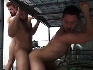 5 Military Men Bareback Double Fuck In Barracks