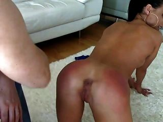 Hot Brunette Spanked On The Floor