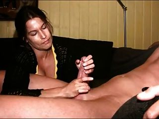 Gorgeous Brunette Milf Jerks Cock To Orgasm