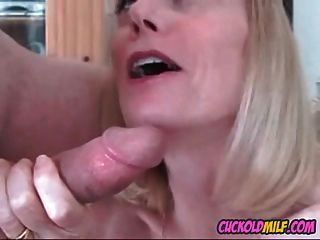 Cuckold Milfs Fucked By Hired Bills Sissy Husband Cleans Up