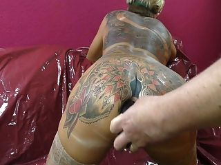 Tattooed Woman Spitting Butt Plugs Out Of Her Arsehole.