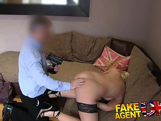 Fakeagentuk Tight Shaven Pussy Fucked Over Desk