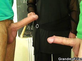 Old Granny Teacher And Teen Boys