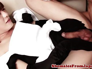 Japanese Trans Maid Asslicked And Drilled