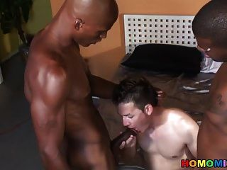 Young White Twink Getting Gangbanged By Black Dudes