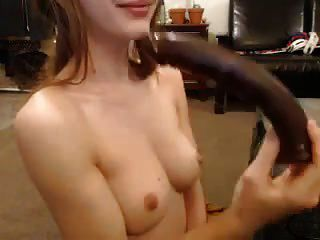 Adorable Tight Girl Plays With Large Dildo