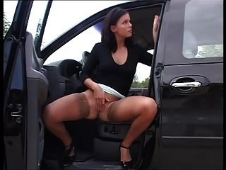 The Sexy Brunette From Hungary Solo Piss Outdoors