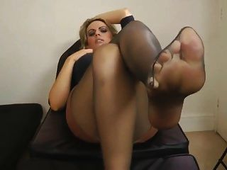 Black Pantyhose Feet After Work