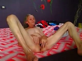 Skinny Hairy Granny Playing On Cam