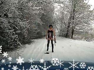 Trans Sissy Slut - Winter Outdoor Flash
