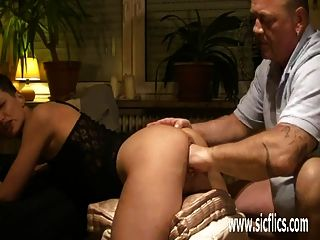 Brutally Fisting Amateur Wifes Huge Pussy