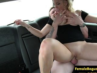 Busty English Taxi Driver Rides Backseat Cock