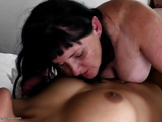 Old Mom Between Two Young Lesbo Sluts
