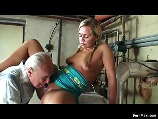 Granny Catches Blonde Teen Sucks Grandpa
