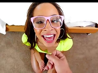 Teanna Trump Takes Messy Facial Cumshot On Her Glasses
