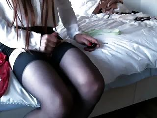 Cumshot On My Silk Nylons And Stocking Tops