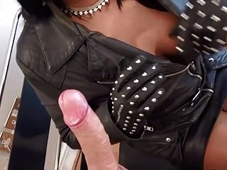 Sexy Dom In Leather Sucks & Hj