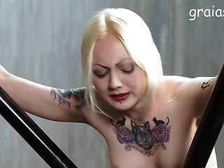 Nice Tattooed Girl Caned