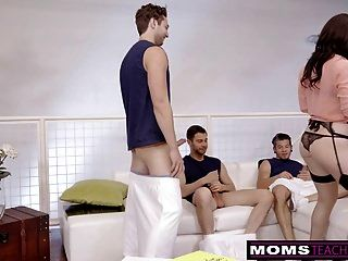 Cheating Milf Fucks Son And His Friends When Hubbys Away!