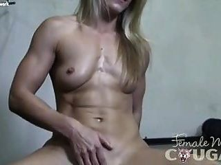 Naked Female Bodybuilder Cougar Claire In Schoolgirl Panties