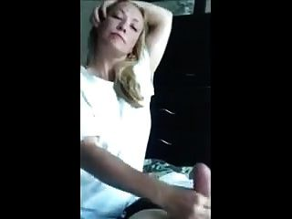 Blonde Wife Sucking Her Chubby Husbands Balls Dry