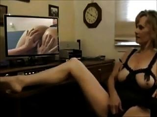 Mature Wife Masturbates While Watching Lesbian Porn