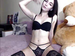 Sexy Brunette Striptease And Masturbating, Long Hair, Hair