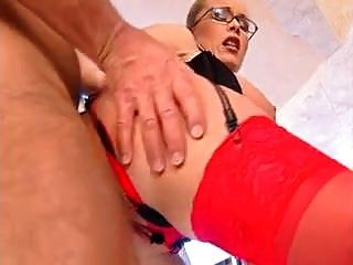 Big Hangers Floppy Tits Anal Red Stockings Glasses