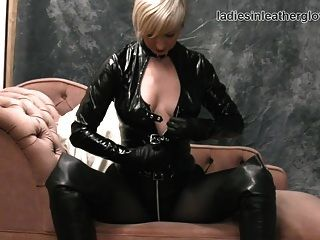 Blonde Rubs Soft Leather Gloves Against Big Tits Wet Pussy