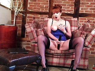 Sultry Mature Redhead In Lingerie Fingers Her Cunt