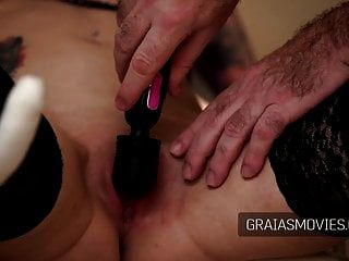 Blindfolded Slaves Tits Clamped