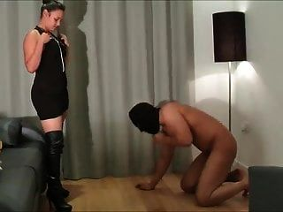 Ballbusted By His Leather Booted Mistress